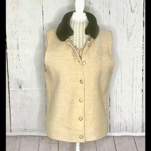 Charter Club Merino Wool Vest Beige Faux Fur XL